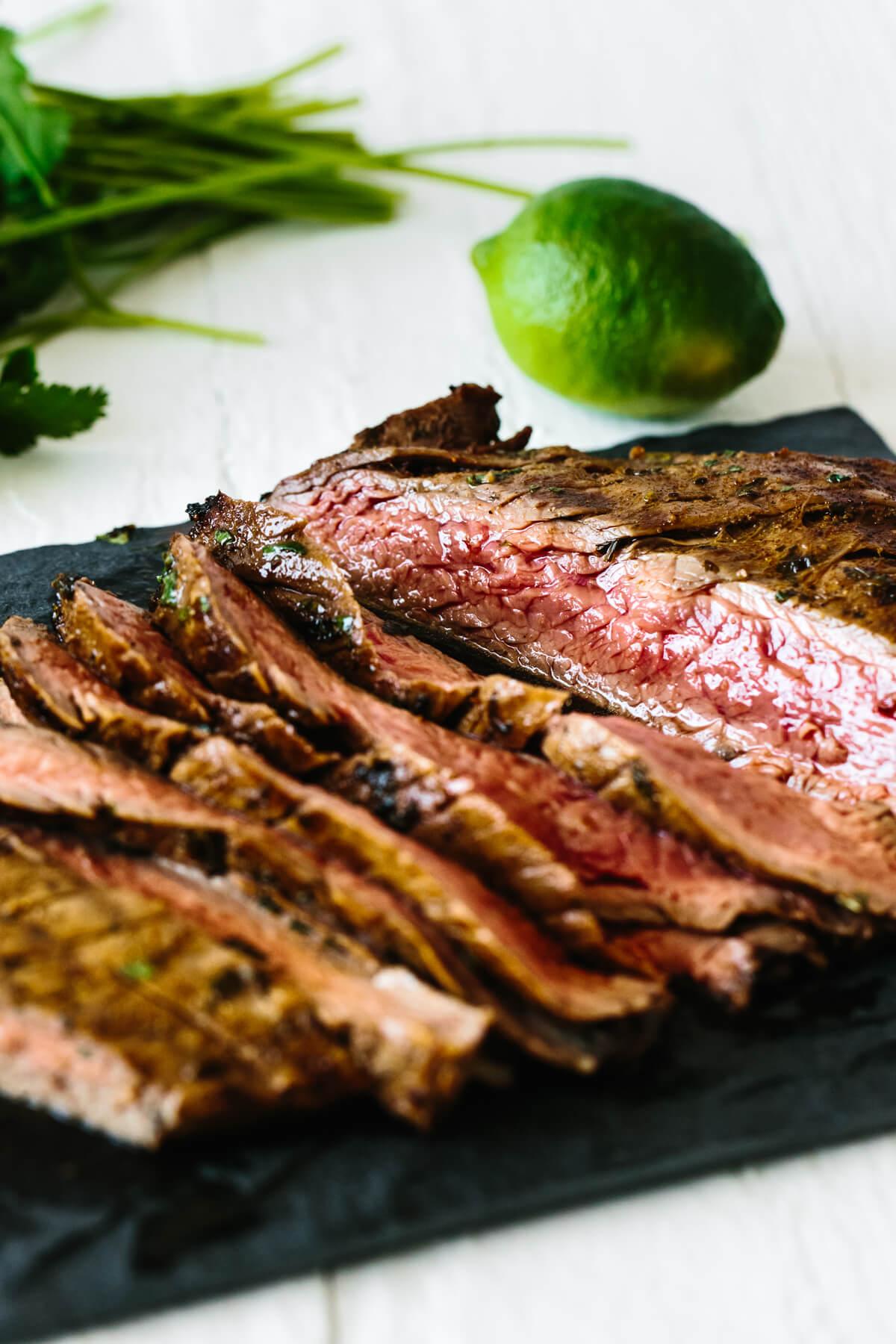 Carne asada sliced into thin strips.