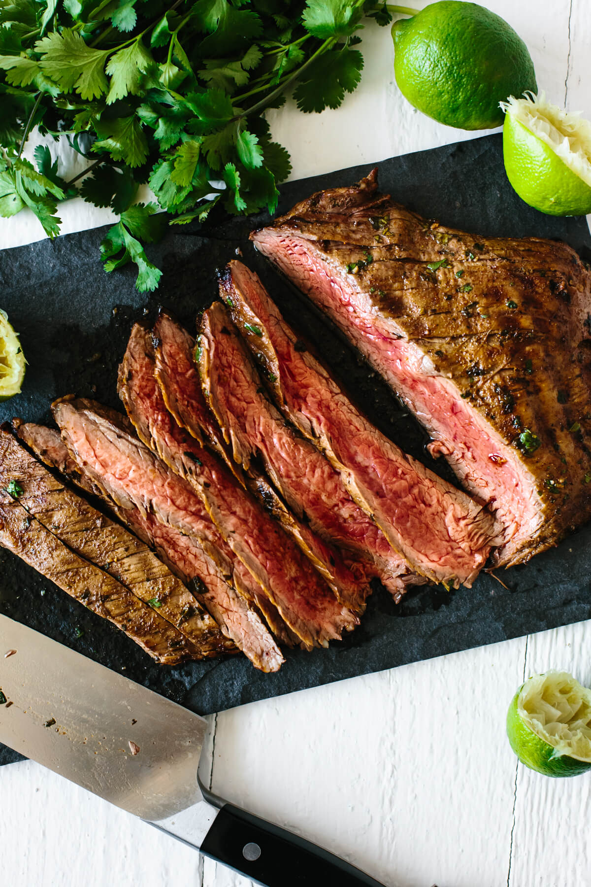 Carne asada sliced into pieces.