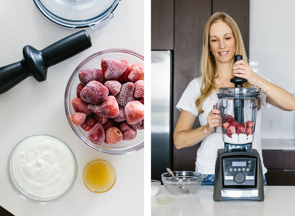Showing how to make frozen yogurt in a Vitamix blender.
