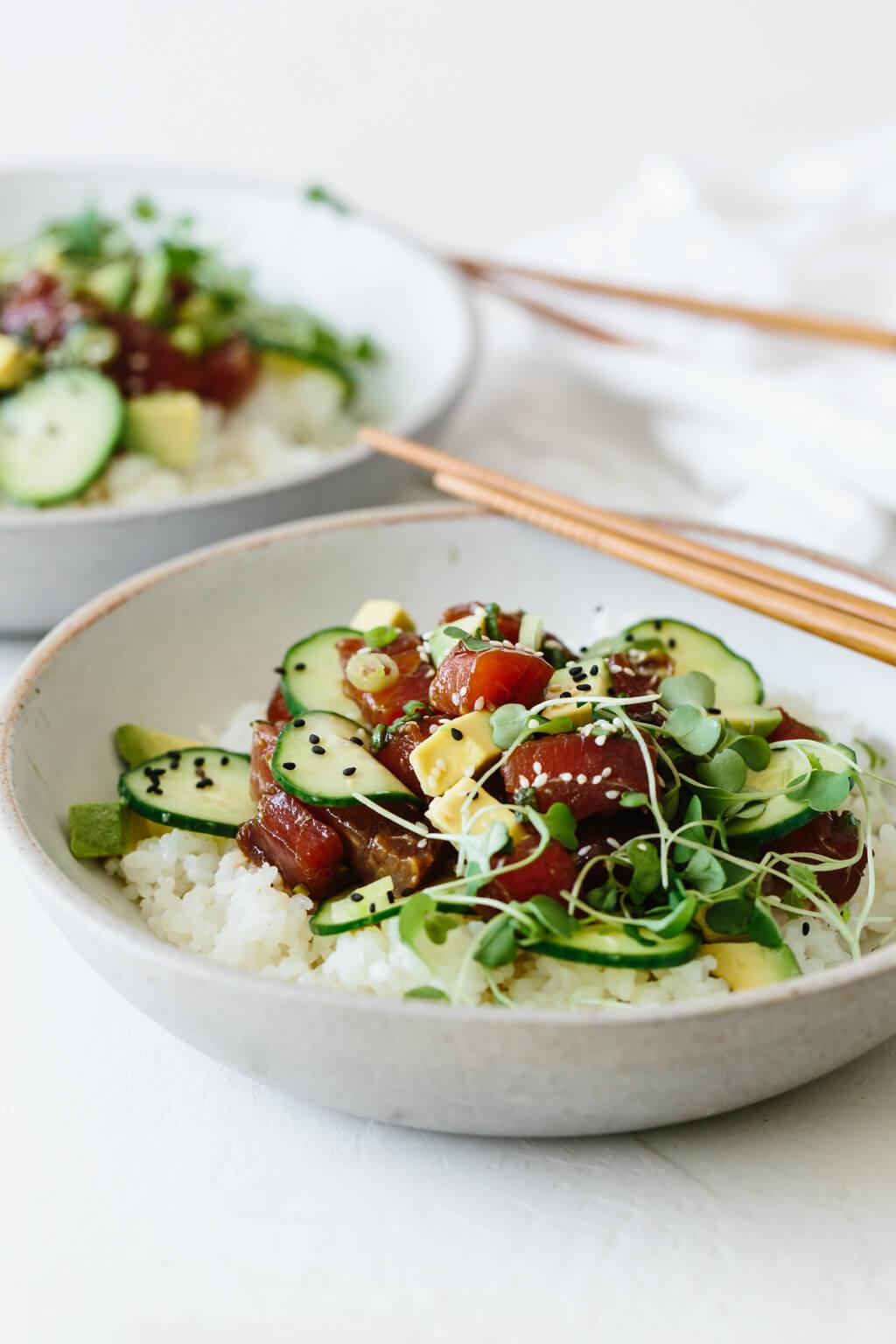 Ahi tuna poke bowl with chopsticks.