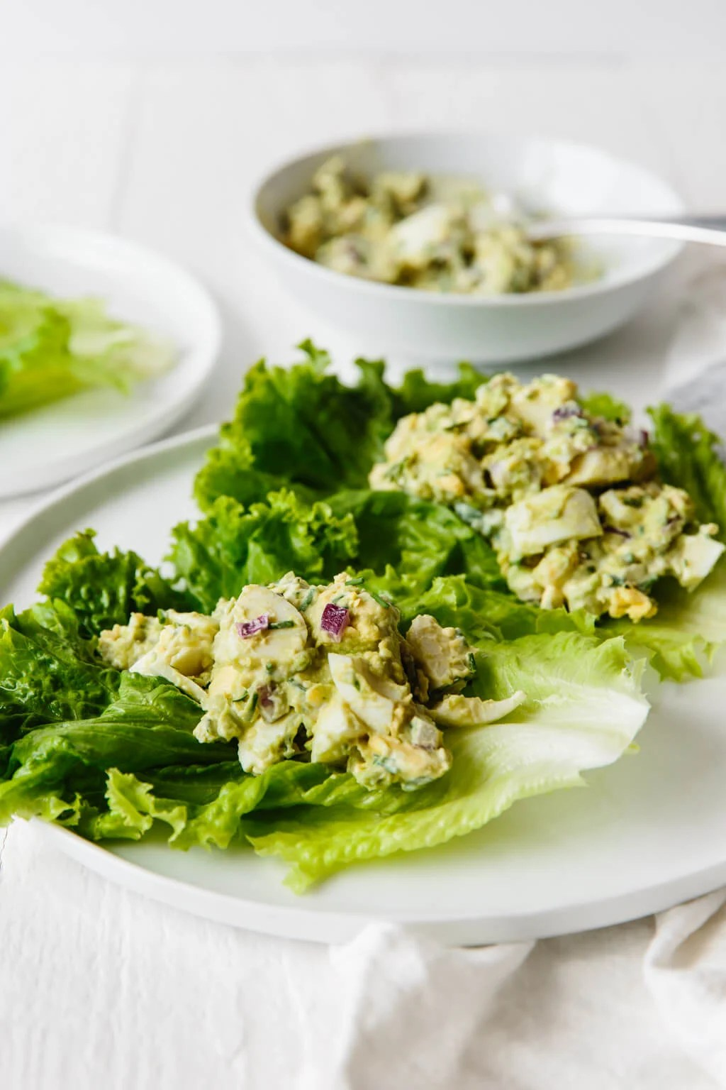 Avocado egg salad in lettuce leaves on a white plate.