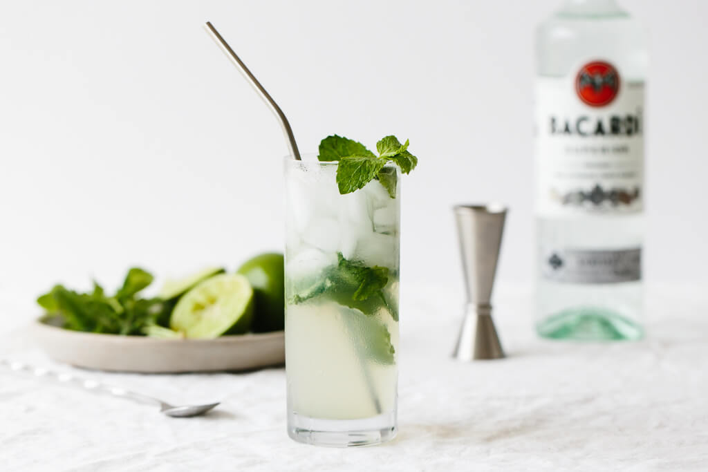 The mojito (a classic Cuban cocktail) is a blend of rum, sugar, lime juice, mint leaves and club soda. We're keeping the sugar low in this version and swapping granulated sugar (or simple syrup) for honey. It's delicious, easy, refreshing and the best mojito around!