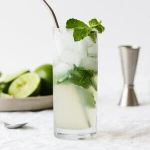 Mojito recipe in a glass with fresh mint.