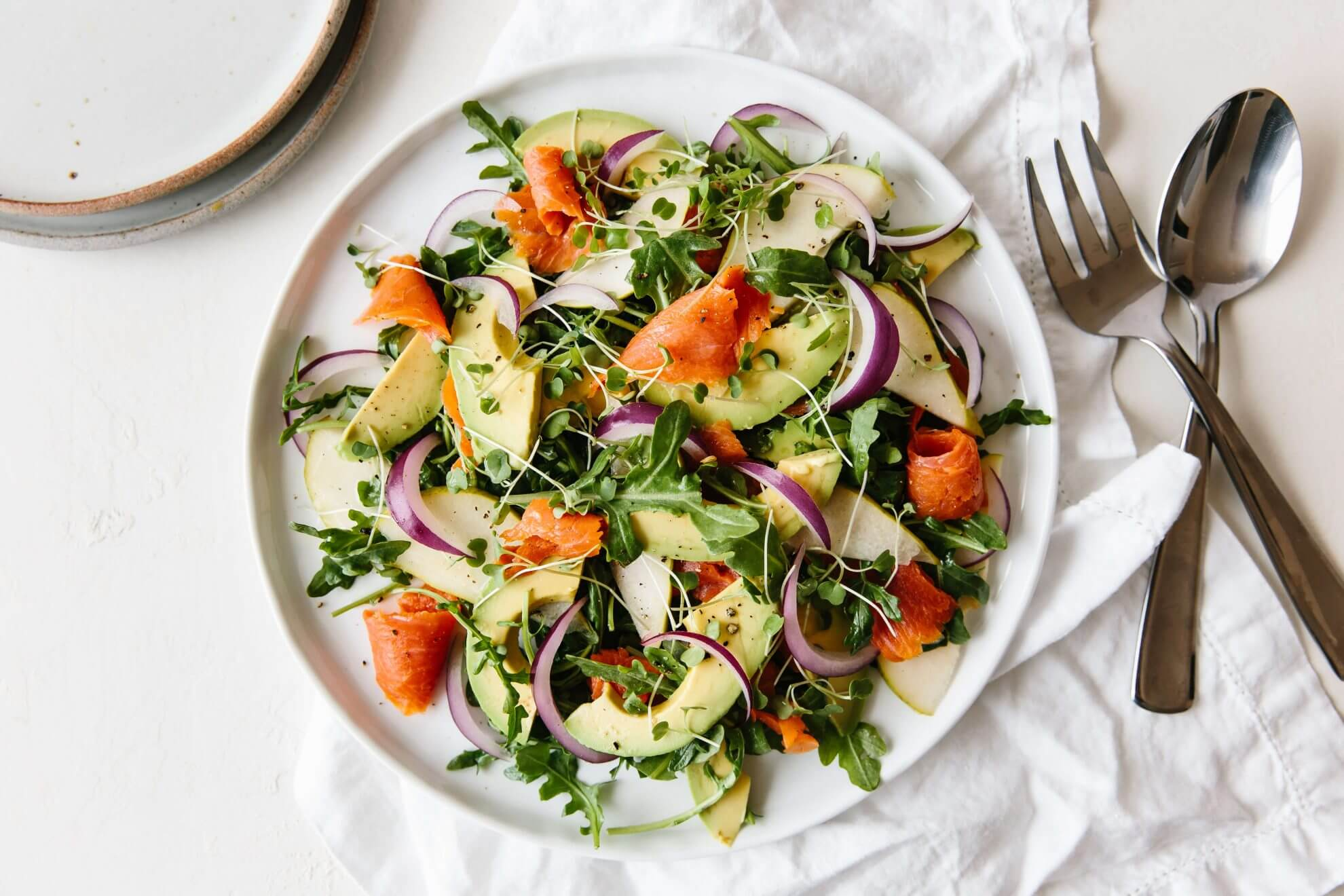 Smoked Salmon Avocado And Arugula Salad Downshiftology
