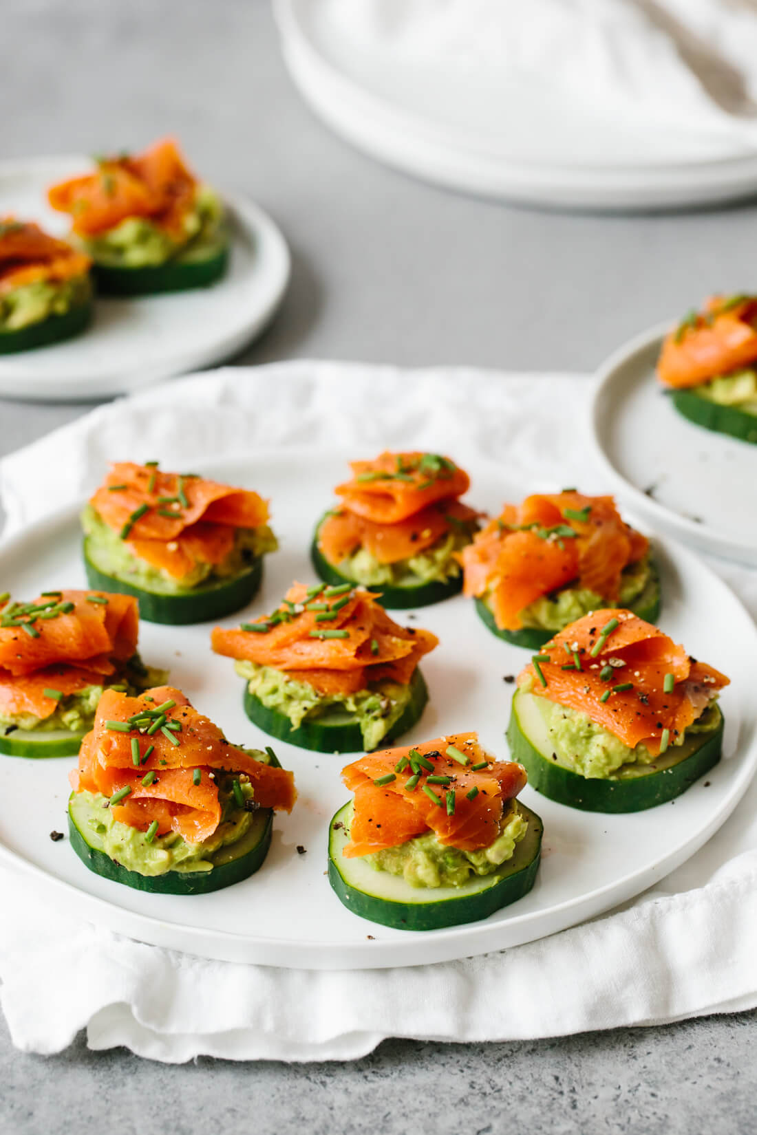 Smoked Salmon Avocado And Cucumber Bites Downshiftology