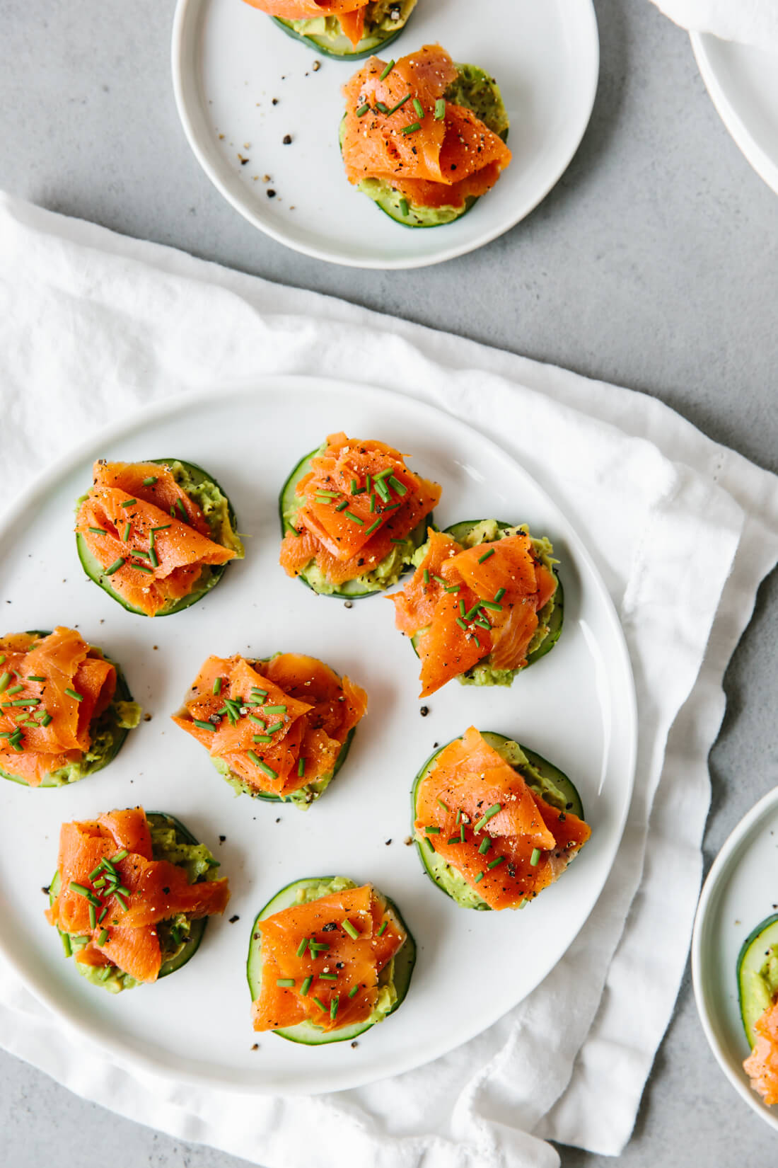 These smoked salmon, avocado and cucumber bites are the perfect healthy appetizer recipe.