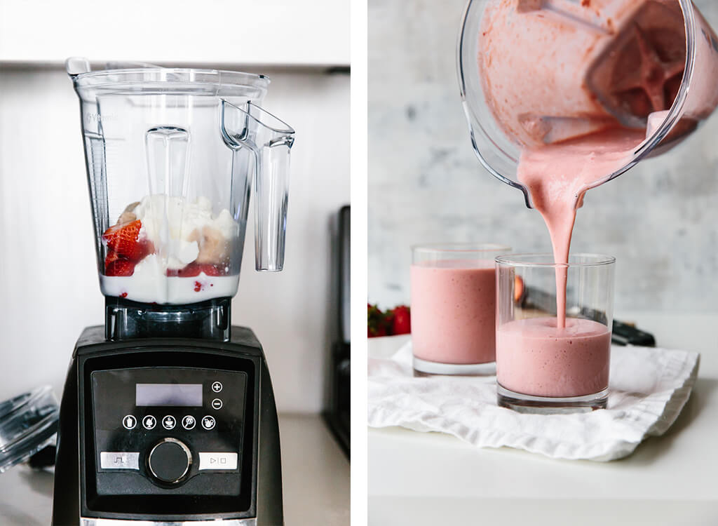 Strawberry banana smoothie being made in Vitamix blender and poured into glasses.