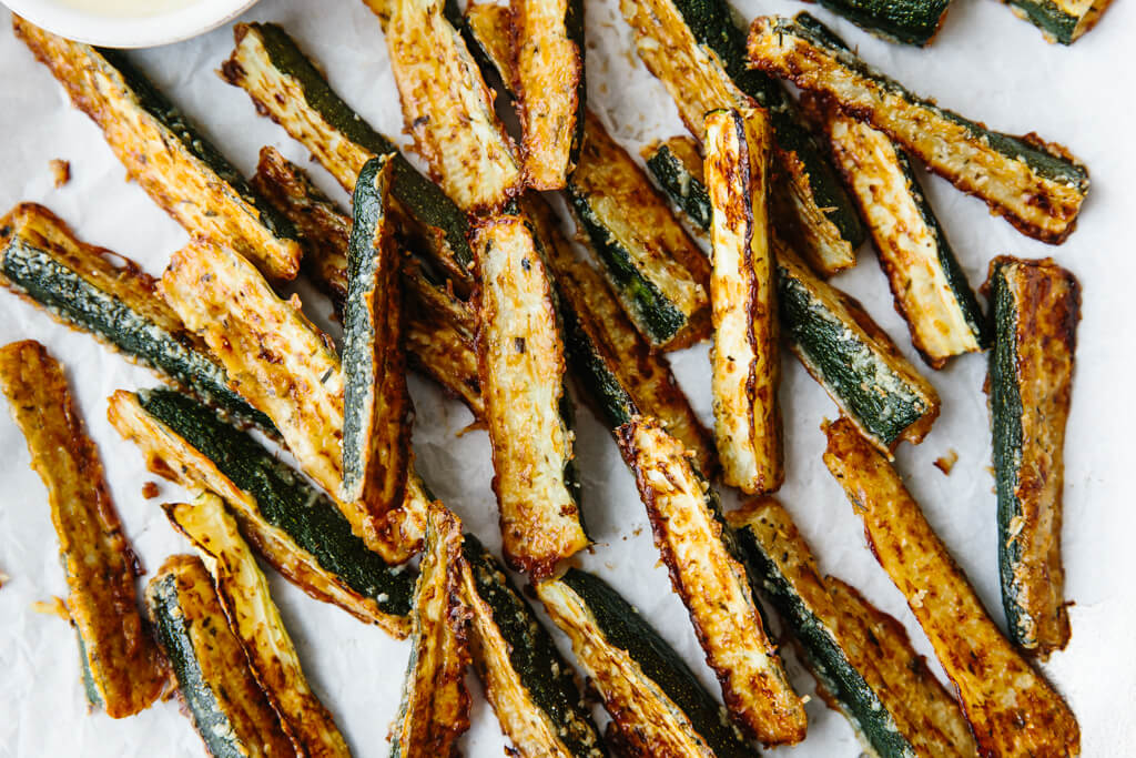 Platter of baked zucchini fries.