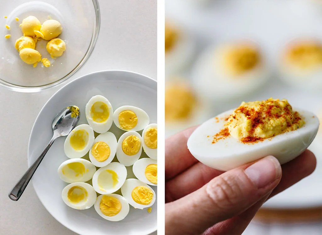 Deviled eggs being made and eaten.