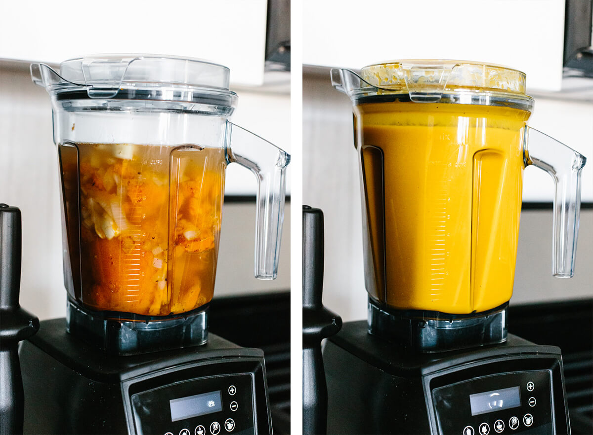 Blending the butternut squash soup ingredients in a blender.
