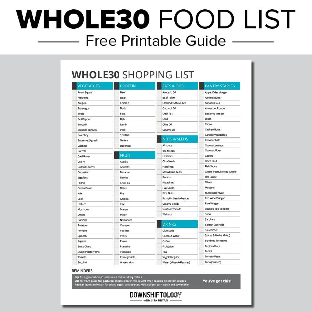whole 30 diet approved foods