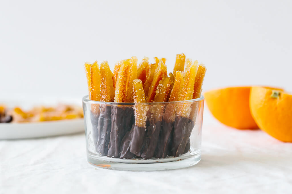 Candied orange peel is the perfect sweet treat. It's slightly bitter with a burst of orange and deliciously sweet.
