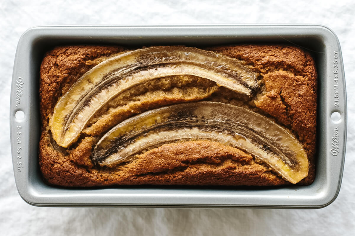 Paleo banana bread in a loaf pan.
