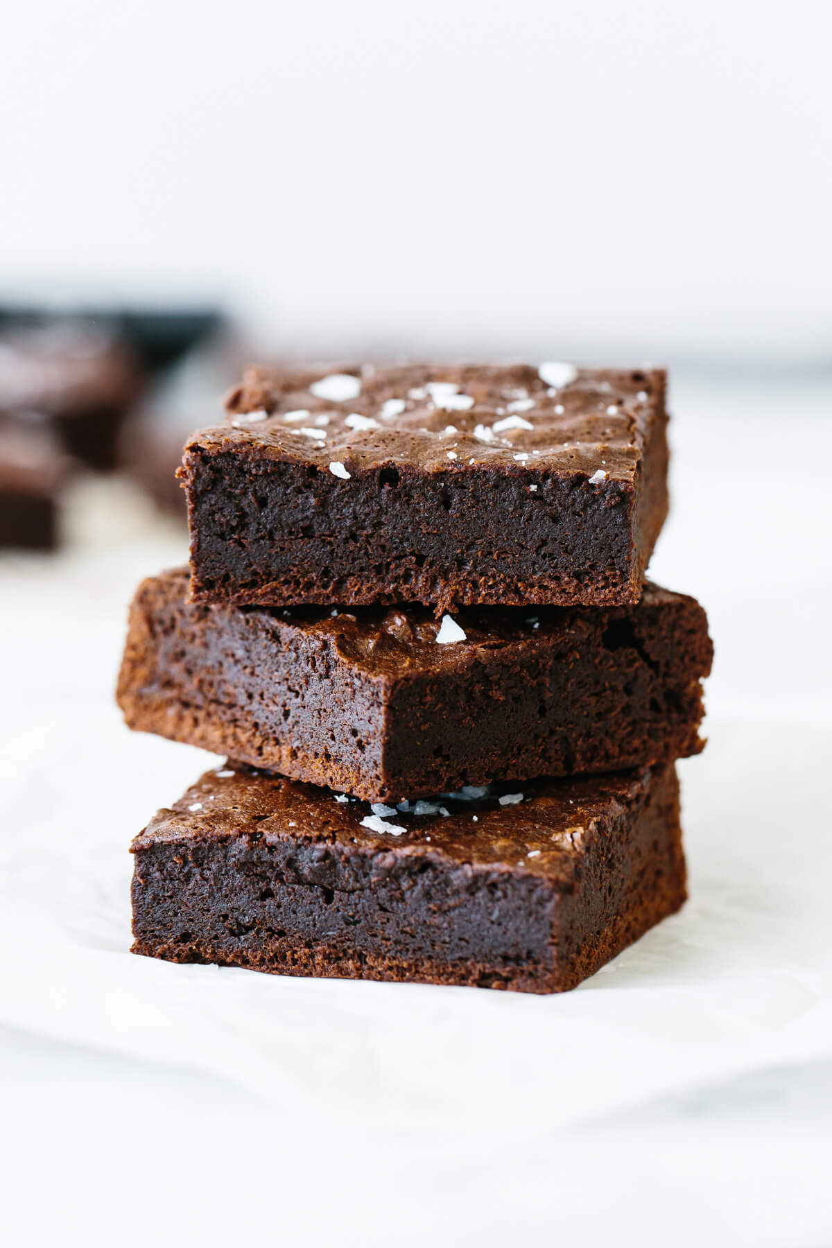 A stack of paleo brownies.