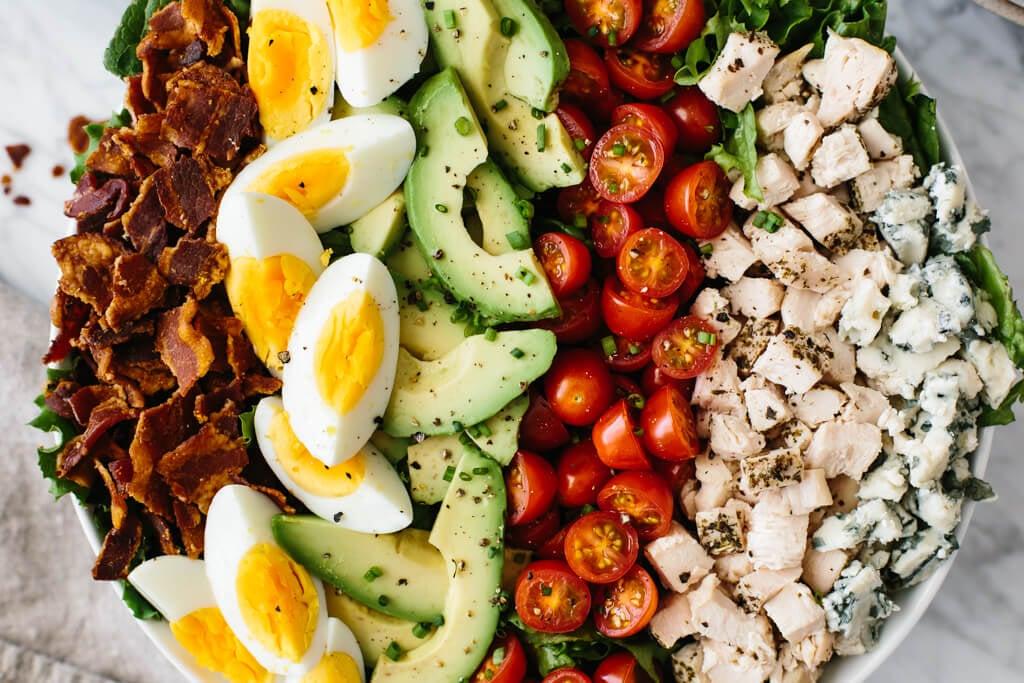 Close up of Cobb salad ingredients.