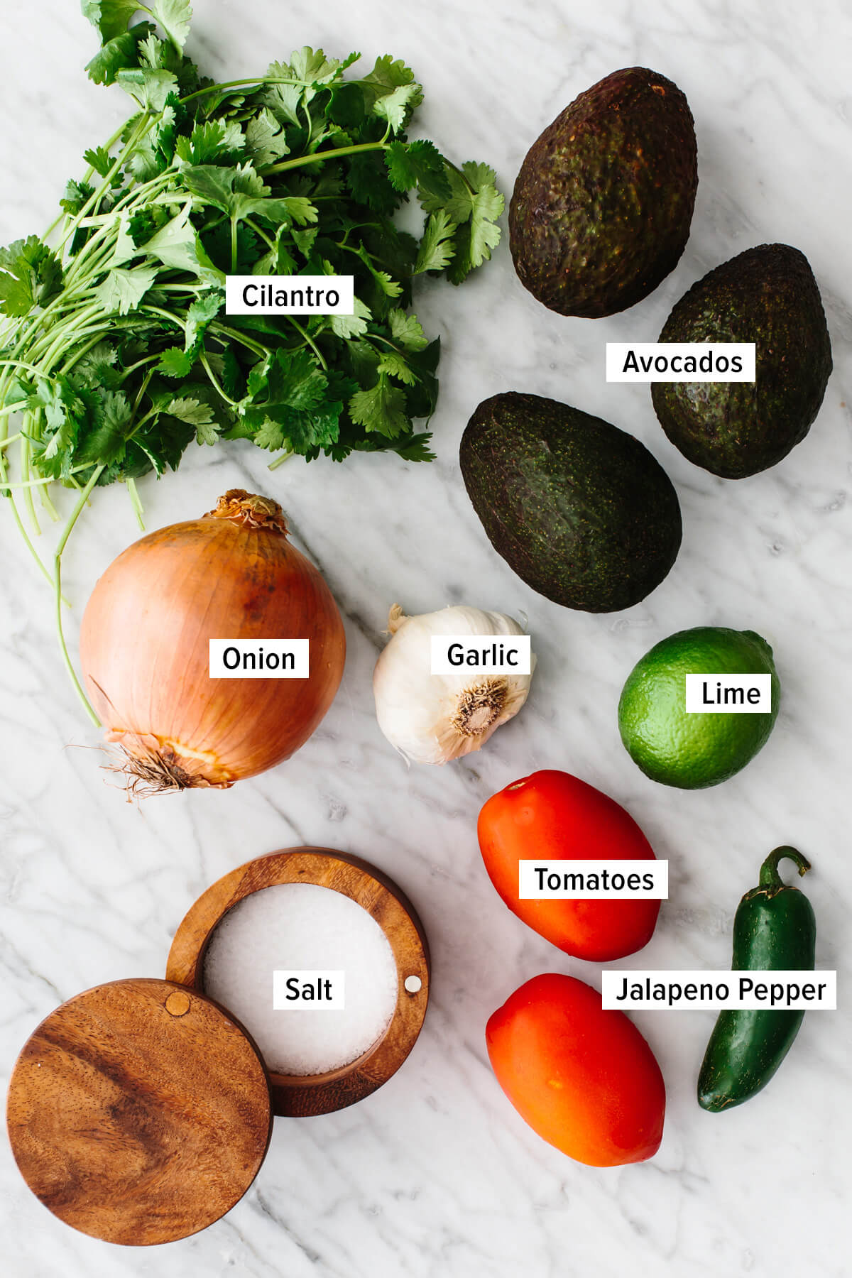 Ingredients for making guacamole on a counter.