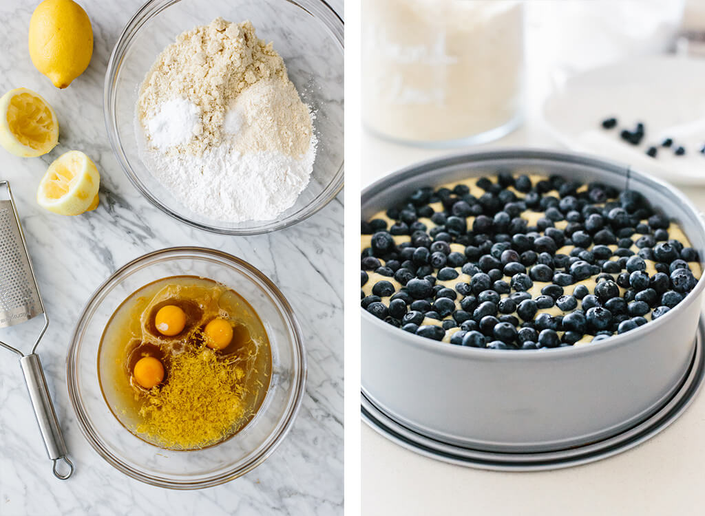Step-by-step process photos for making paleo lemon blueberry cake.