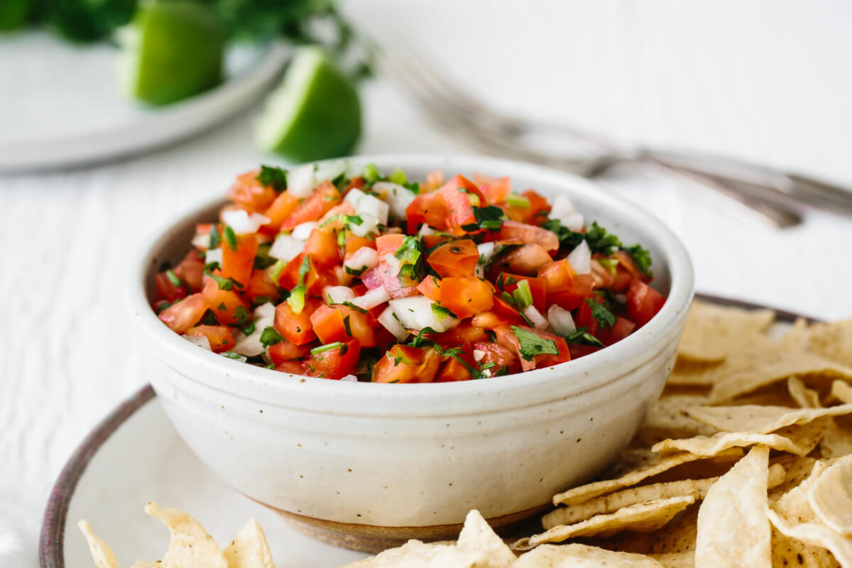 Pico de gallo in a serving bowl.