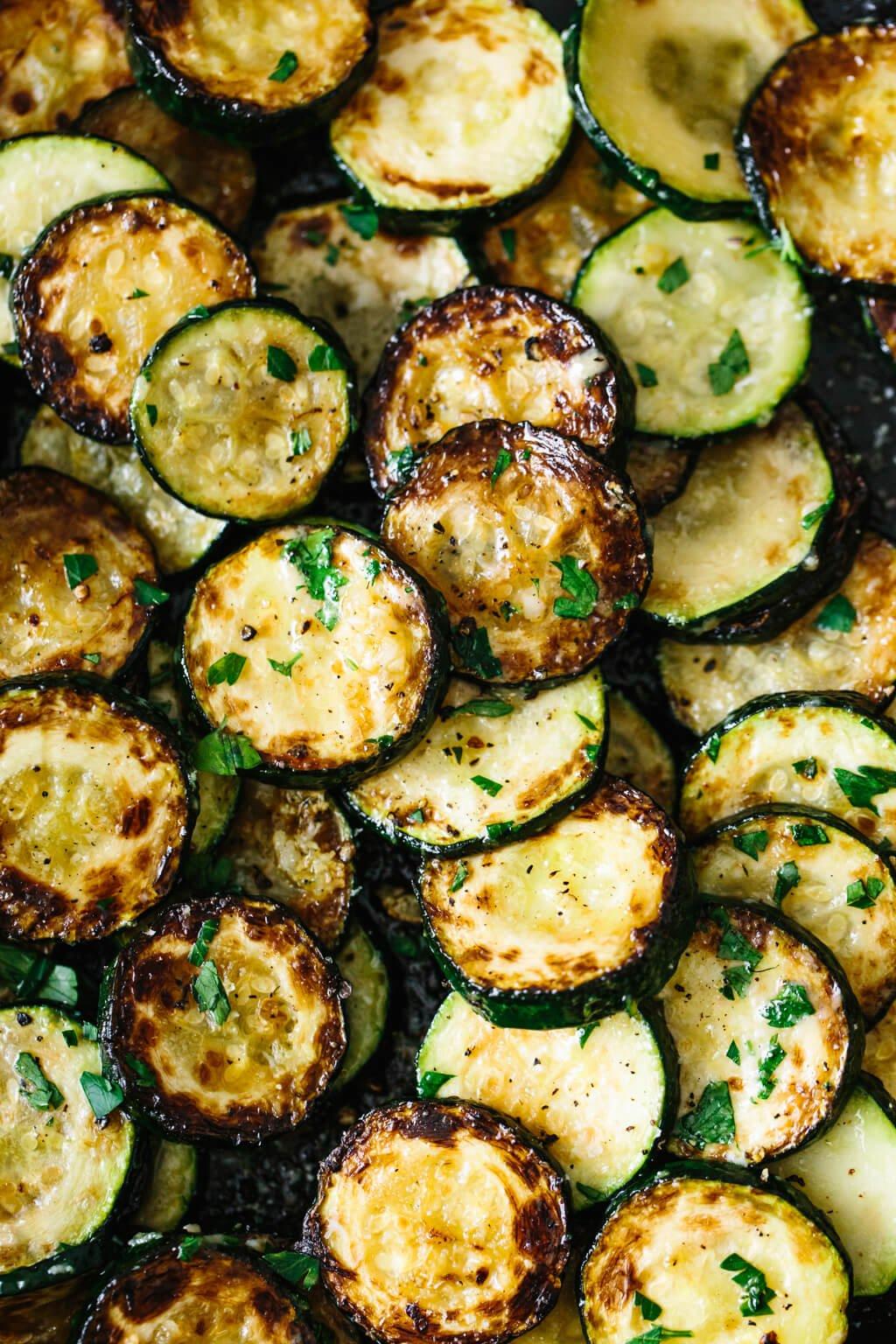 Up close photo of zucchini recipe.