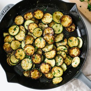 Sauteed zucchini that's cooked and ready to be served.