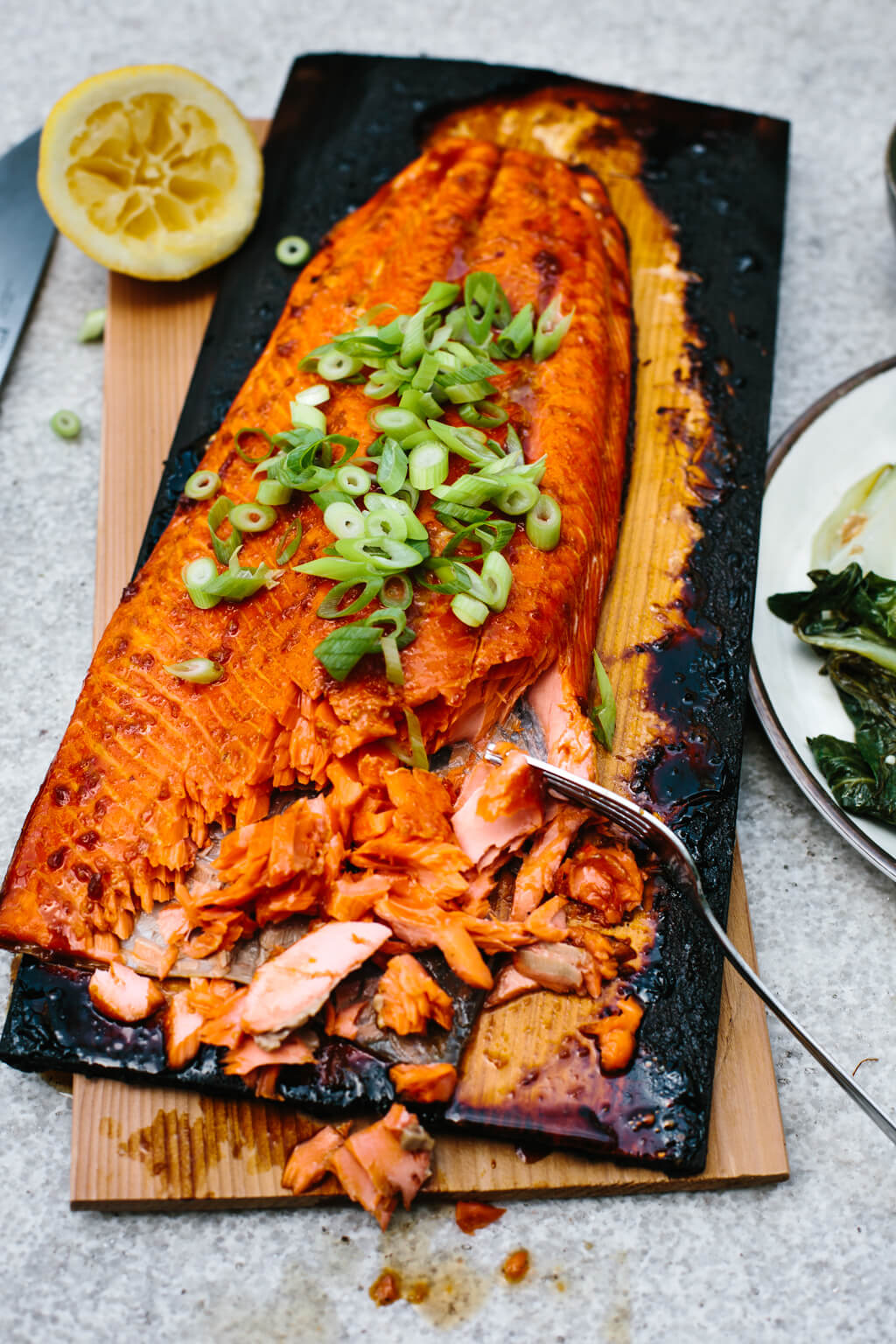 Salmon on a charred cedar plank garnished with green onions.