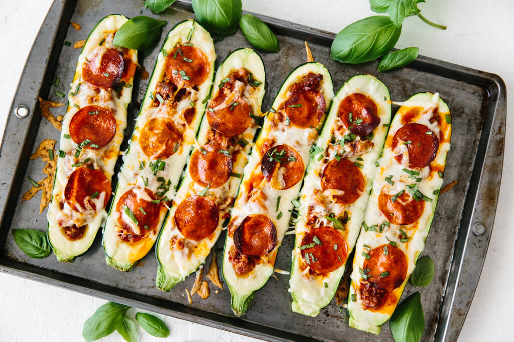 Pizza Stuffed Zucchini Boats Downshiftology