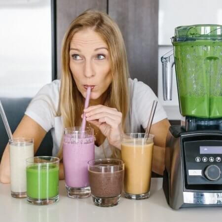 Lisa Bryan drinking a variety of smoothies