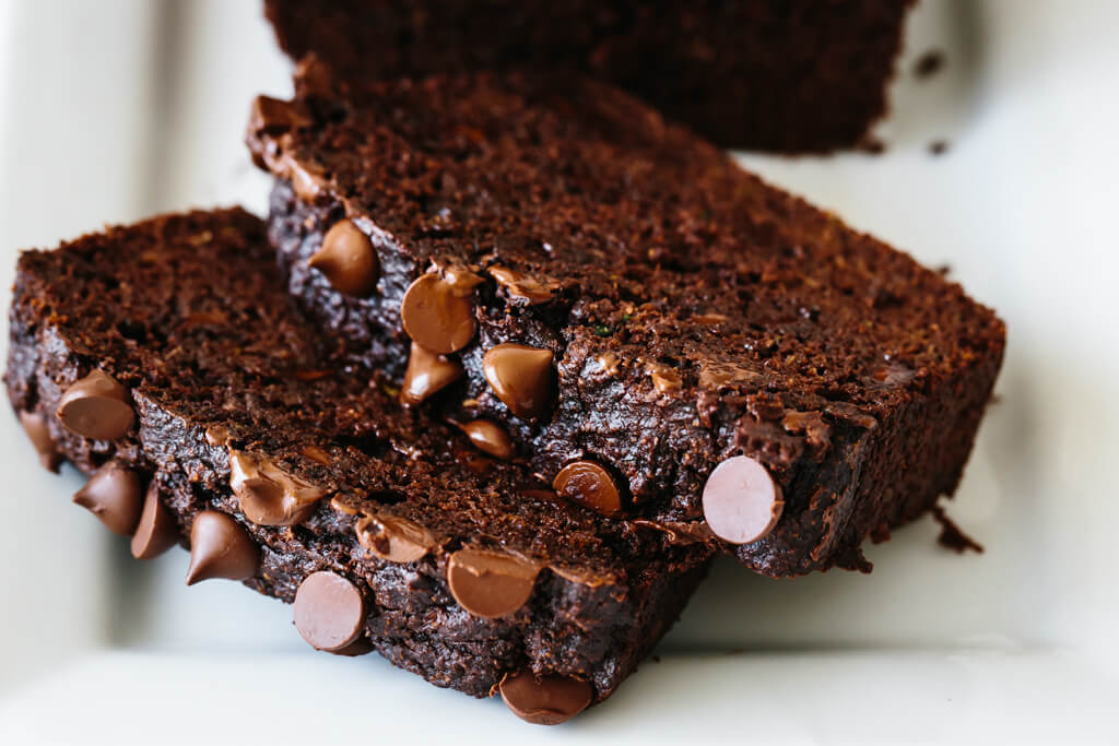 Slices of paleo chocolate zucchini bread.