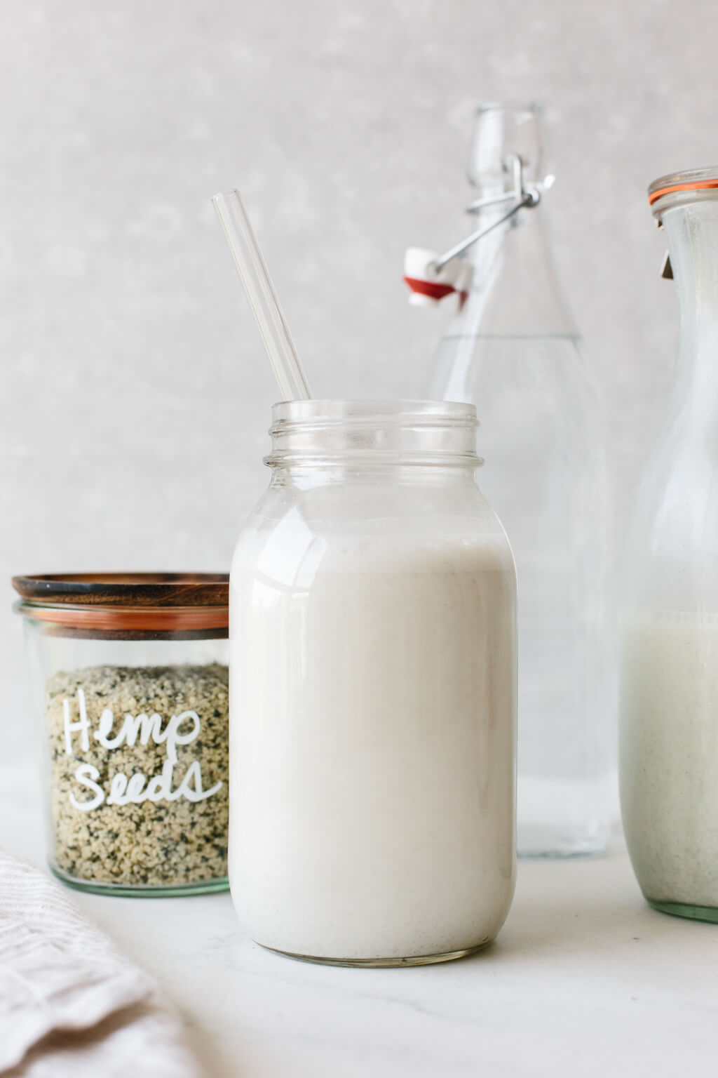 Hemp milk in a glass.