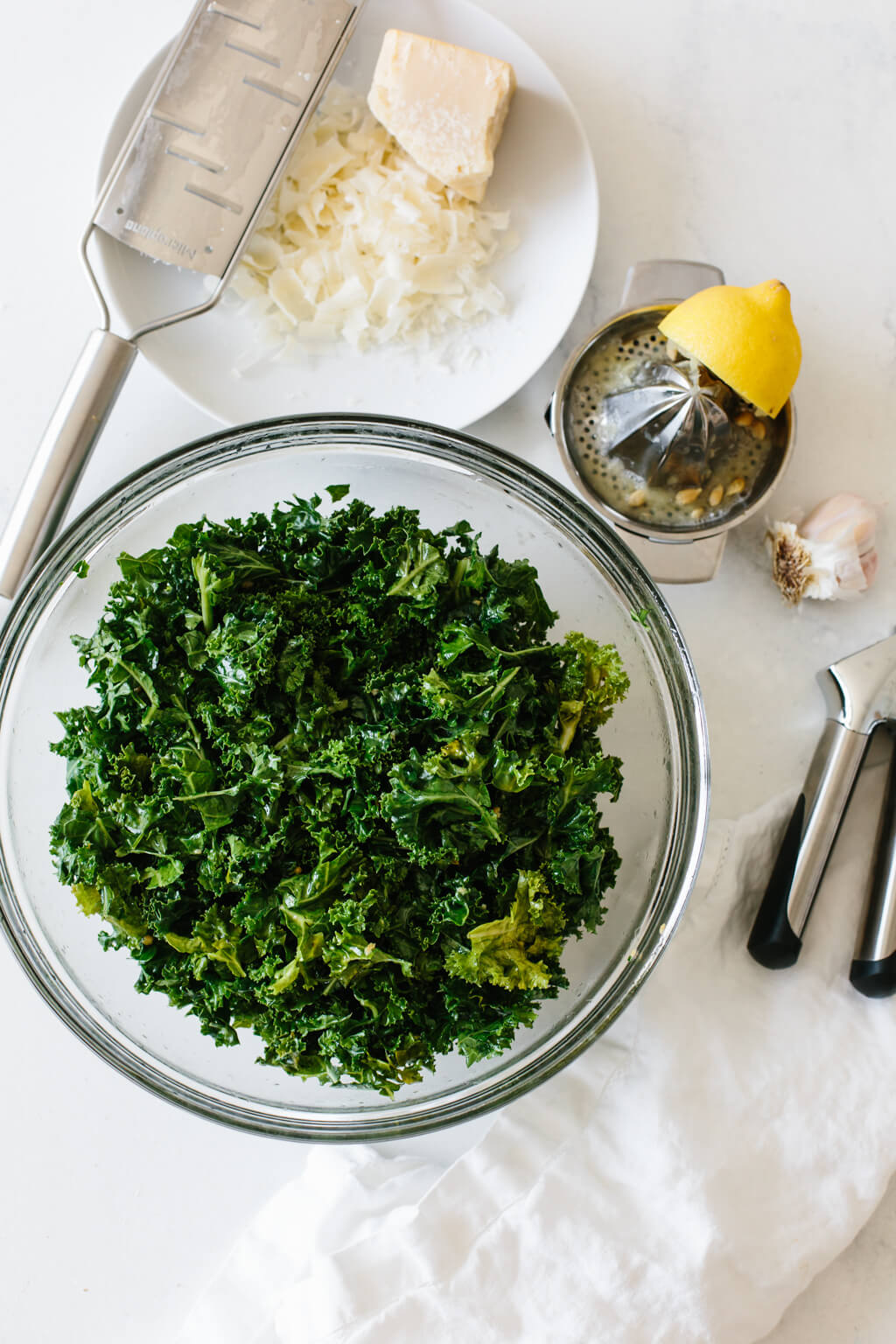Massaged kale salad ingredients.