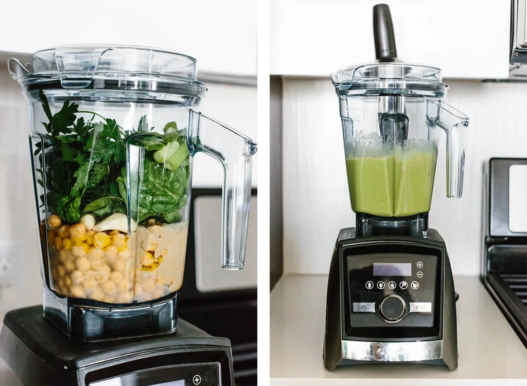 Making green hummus in a Vitamix blender.
