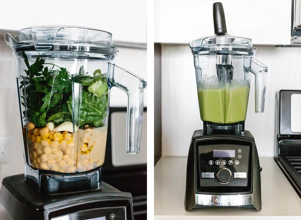 Making green hummus in a Vitamix blender.