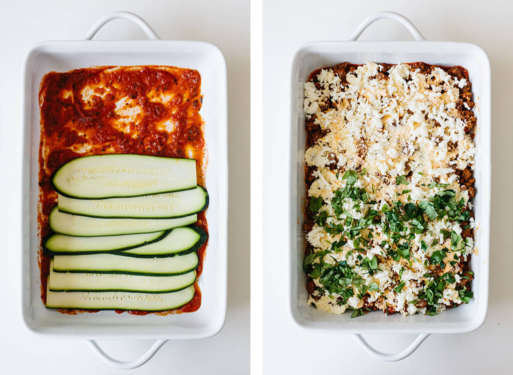 The first couple steps of making zucchini lasagna.