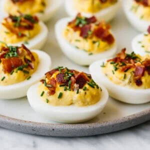 A plate of bacon deviled eggs.