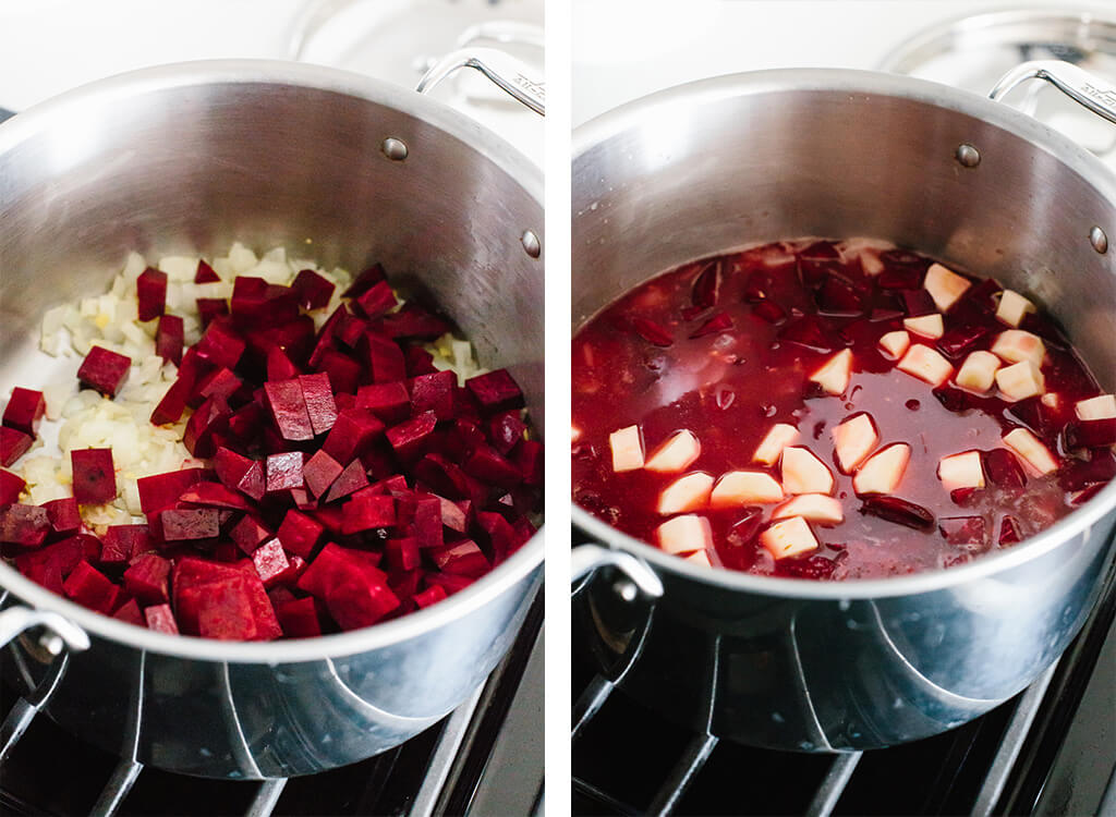 Diced beets, onions, parsnip and other ingredients to make beet soup in a pot.