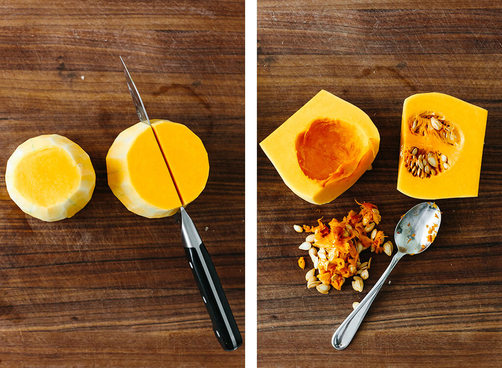 Cutting butternut squash in half and removing the seeds.