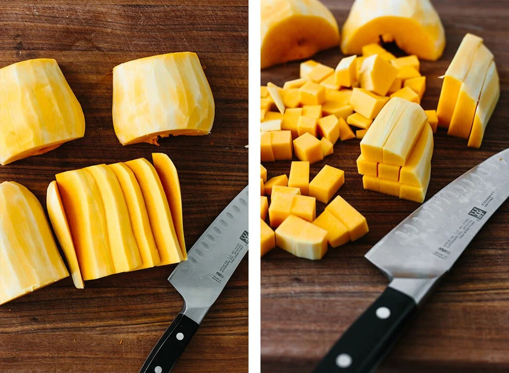 Slicing and dicing butternut squash into cubes.