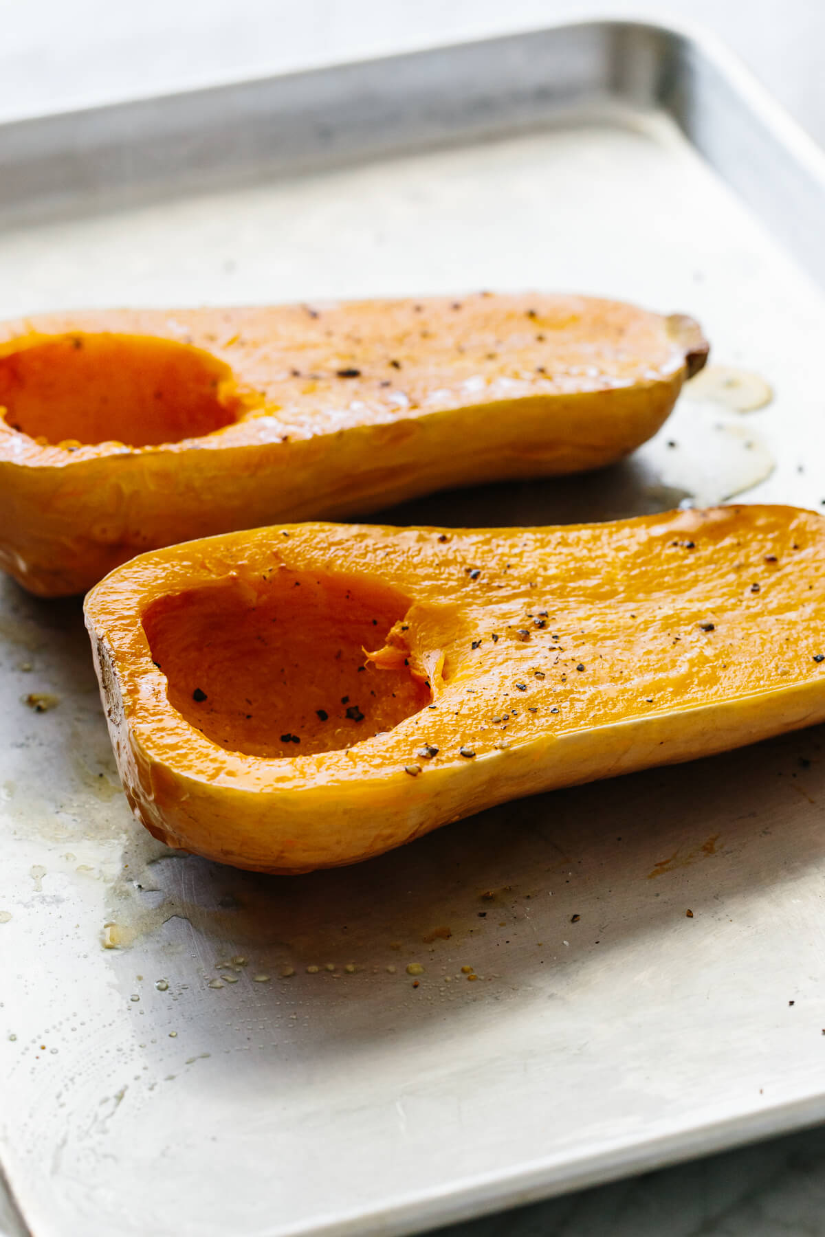 Roasted butternut squash fresh out of the oven.