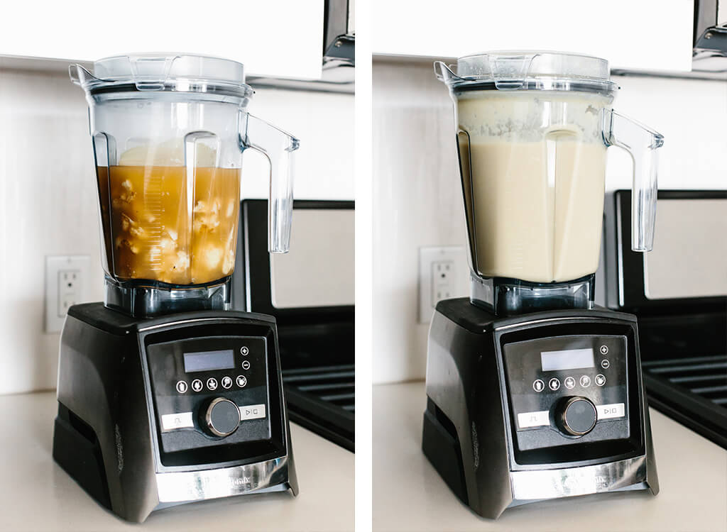 Making cauliflower soup in a Vitamix blender.