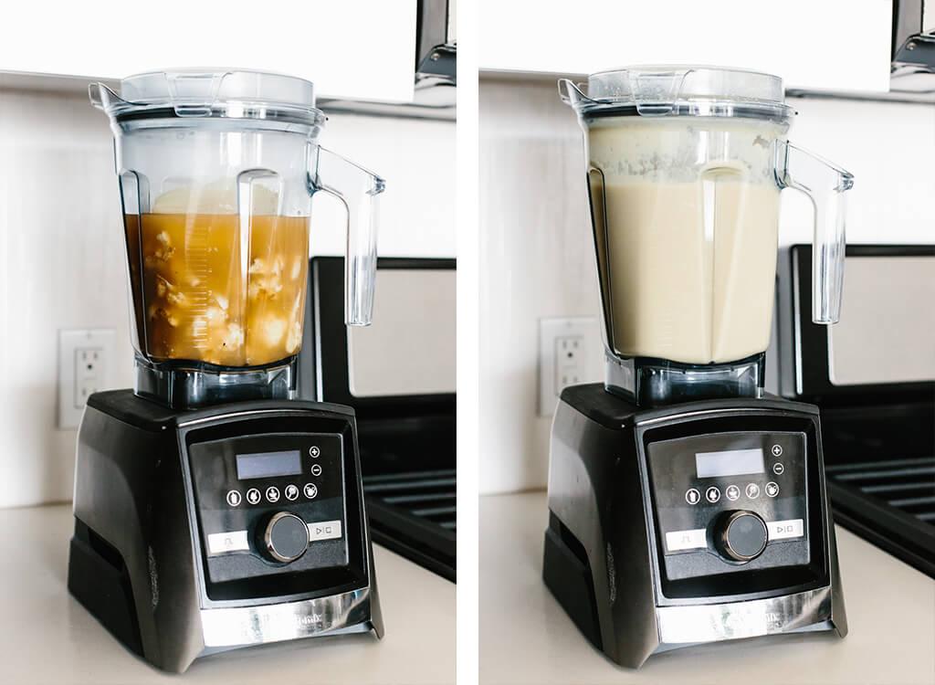 Making cauliflower soup in a Vitamix blender.