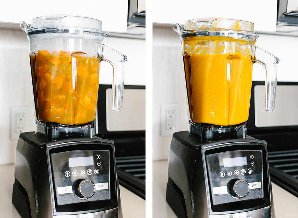 Blending sweet potato soup in a Vitamix blender.