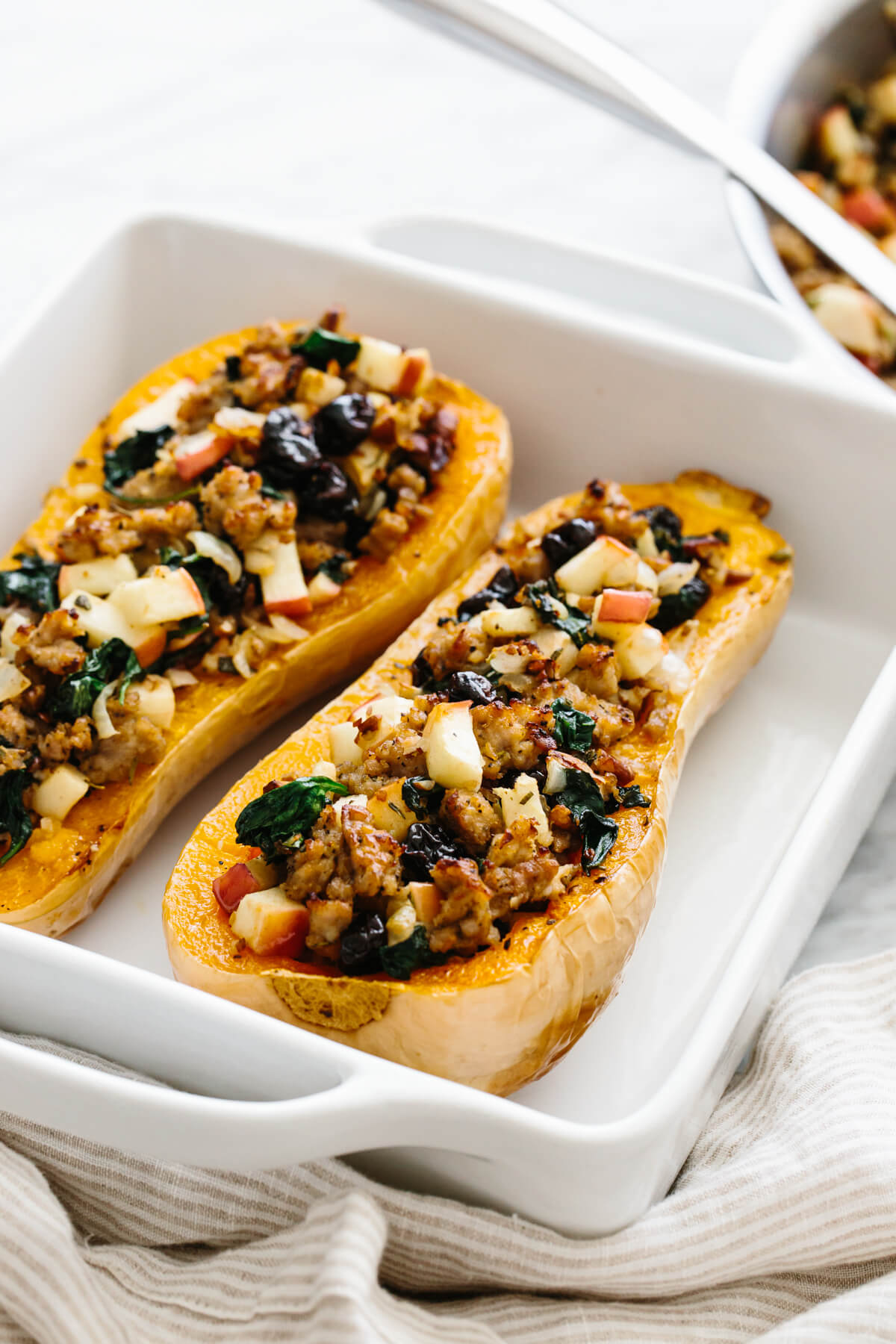 Stuffed butternut squash fresh out of the oven.