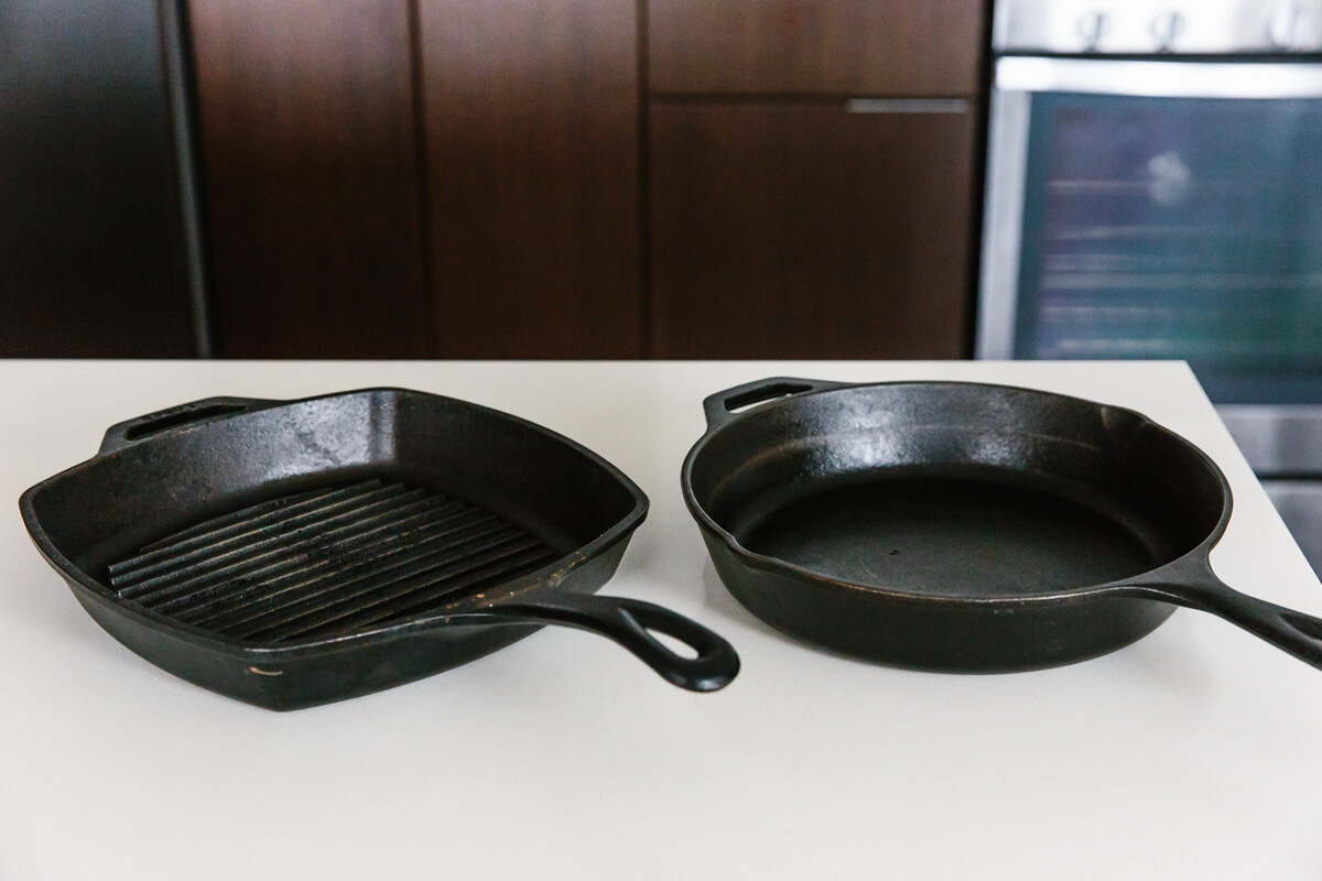 Different cast iron cookware.