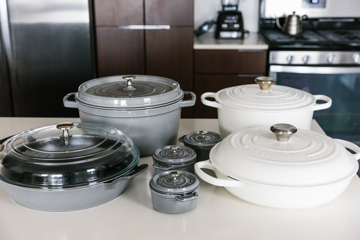 Different enameled cast iron cookware.