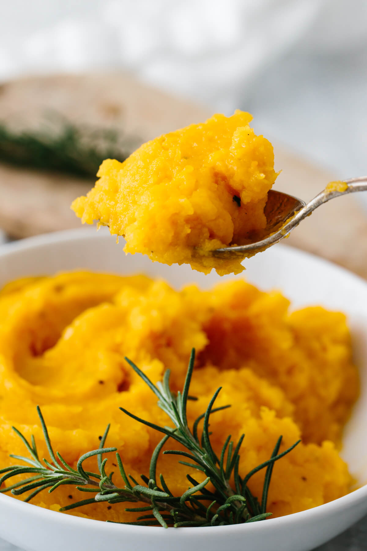 A spoonful of mashed butternut squash.