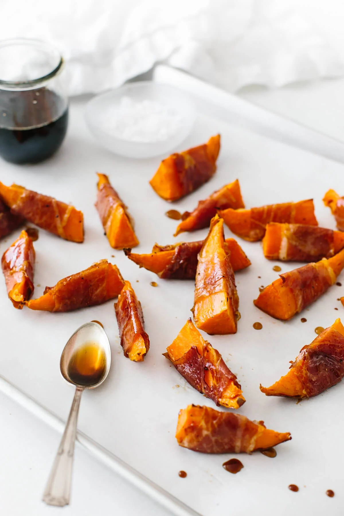 Sweet potatoes wrapped in prosciutto.