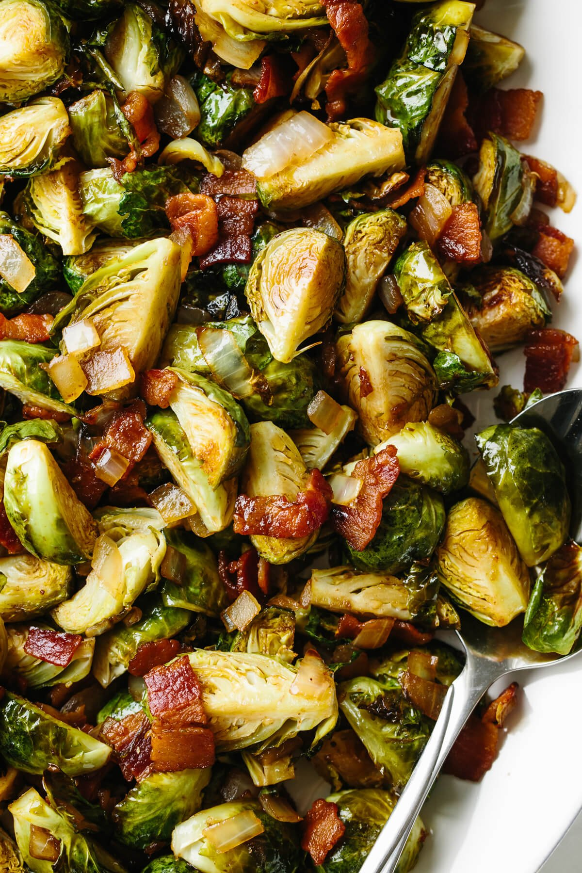 Up close photo of balsamic bacon brussels sprouts.
