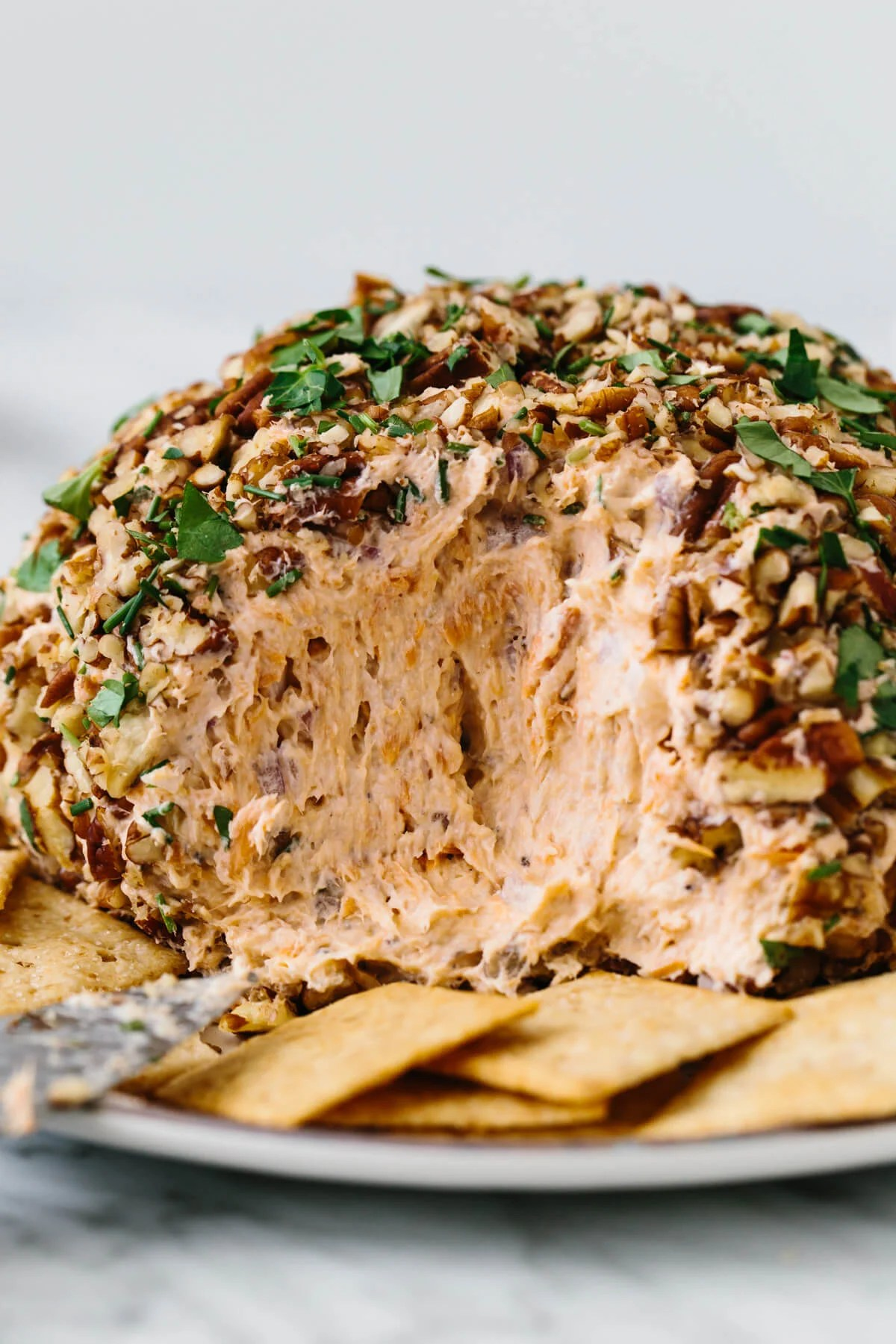 Smoked salmon cheese ball with crackers.