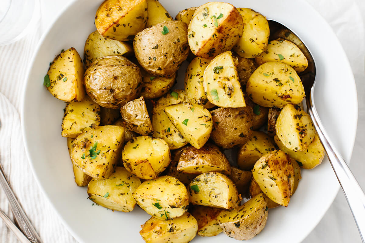 Garlic Herb Roasted Potatoes Easy Oven Roasted Potatoes Downshiftology