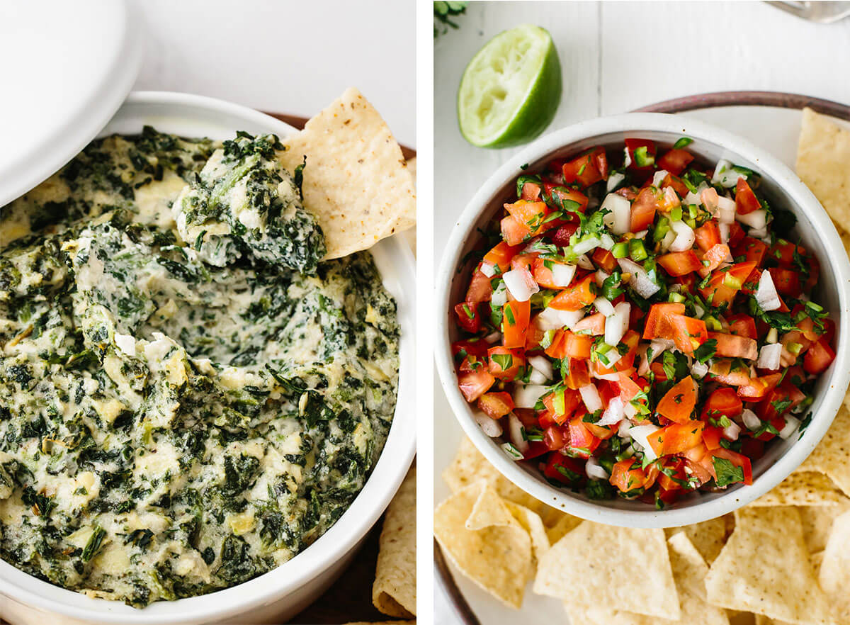 Pico de gallo and spinach artichoke dip for super bowl food ideas.